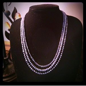 {REAL} Tri-Strand Peacock Blue Cultured Pearls 925